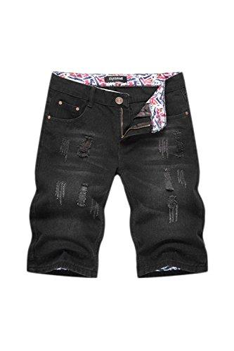 Los Hombres Denim Jeans Short Distressed Hoyos Pantalones Luz Lavada Black