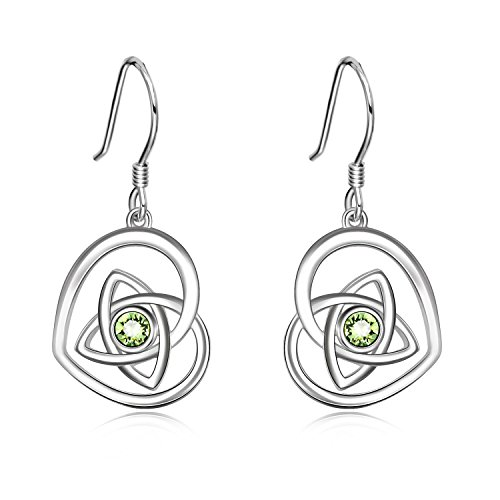 AOBOCO 925 Sterling Silver Irish Celtic Knot Earrings French Hook Love Heart Dangle Earrings Made With Swarovski Crystals,Celtic Jewelry Irish Gifts For Women Girls (Green) ()