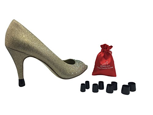 Scarlet Heel Tips LITE; Noise reducing slip-on solution to instantly repair shoes & protect heel caps (Large, Medium, Small, XSmall, Black)