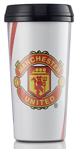 Manchester United FC Travel Mug - Mug Holds 16 Ounces - Hot and Cold Beverages - Official English Premier League Product - Travel Mug makes a Great  - Perfect for Soccer and Football League Fans - Manchester United FC Travel Mug