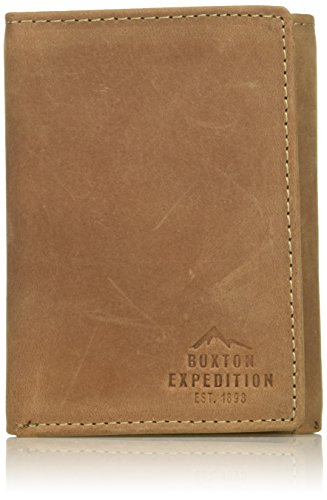 Buxton Men's Expedition Ii RFID Blocking Leather Three-fold Wallet, Tan, One Size -
