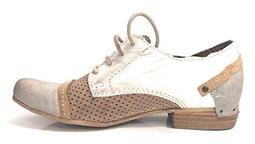 Clocharme - Zapatos de cordones de Piel para mujer MALTO/ PIETRA/ TAUPE