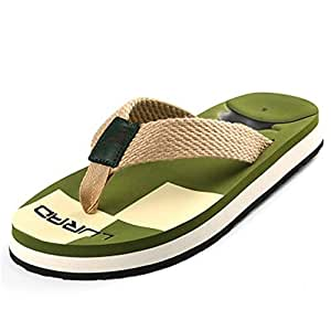 WHPSTZ Men's Slippers Braided Belt Men's Flip-Flops Summer Sandals Men's Beach Shoes Non-Slip Thick-Soled Sandals Europe and America Flip Flops (Color : Green, Size : 39 EU)