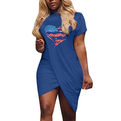 AMOFINY Summer Dresses for Women's Casual Love Heart Pattern Flag Print Dress Short Sleeve Split Mini Dress Blue ()