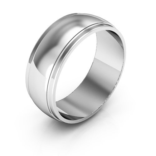 18K White Gold wedding bands for men's and women's 7mm plain half round stepped edge size 9.5