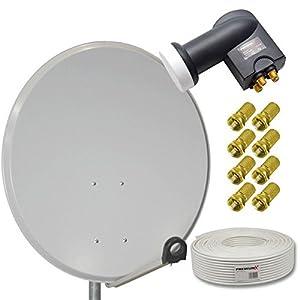 hd digital sat anlage 80cm stahl sat antenne hellgrau. Black Bedroom Furniture Sets. Home Design Ideas