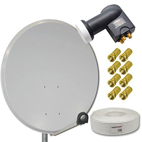 HD Digital Sat Anlage 80cm Stahl Sat Antenne Hellgrau + Quad LNB 4-Teilnehmer PremiumX + 50m Sat Koaxial Kabel 130dB 4-fach + 8 F-Stecker