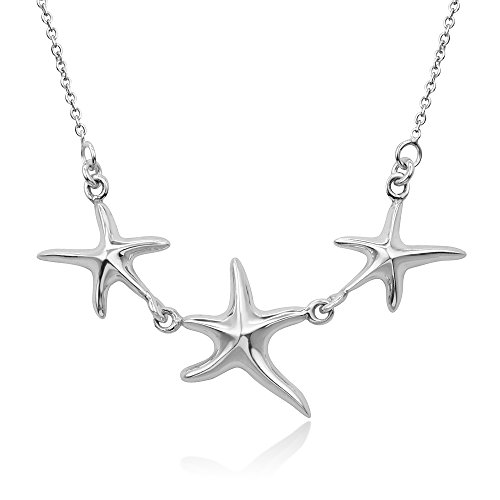 "925 Sterling Silver Triple Tree Starfish Family Charm Necklace w/ Necklace Adjustable 16""-18"""