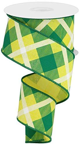 Green Bay Packers Ribbon (Plaid Canvas Wired Edge Ribbon, 10 Yards (Yellow, Green, White,)