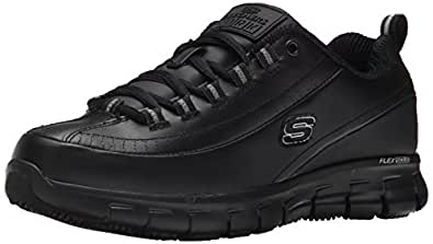Skechers for Work Women's Sure Track Trickel Slip Resistant Work Shoe,Black,5 M US