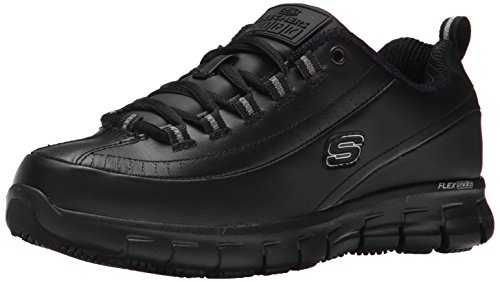 Skechers for Work Women's Sure Track Trickel Slip Resistant Work Shoe, Black, 9.5 XW US