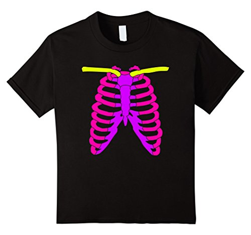 Kids Girls Skeleton Shirt Color Bones for Halloween Costume 10 Black