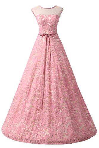 ivyd ressing robe col rond dentelle Prom préférée longue robe de bal robe du soir -  Rose - 36