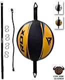 RDX Double End Speed Ball Leather Boxing Double End Speed Ball Bag MMA Double End Dodge Ball Punching Training Floor to Ceiling Rope Workout