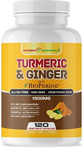 Potent Naturals Turmeric Curcumin with Bioperine and Ginger 1500mg 120 Vegetable Capsules - Supports Joint Health, Anti Inflammatory, Antioxidant Supplement - High Strength, Non GMO, Gluten, Soy Free