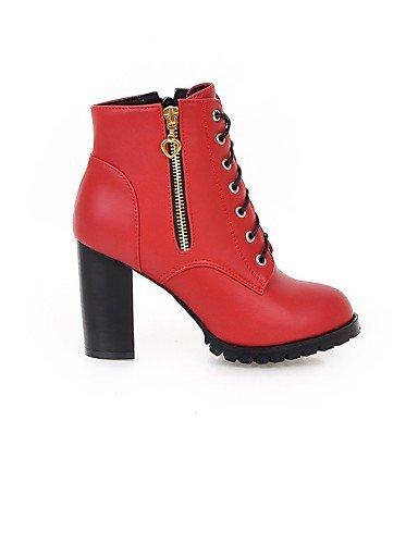 XZZ/ Damen-Stiefel-Kleid-Kunstleder-Blockabsatz-Modische Stiefel-Schwarz / Gelb / Rot black-us5.5 / eu36 / uk3.5 / cn35