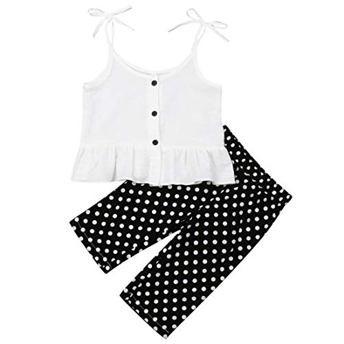 Toddler Baby Girl Outfits Clothes Kids Ruffle Button Strap Vest Tops+Polka Dot Long Pants Summer Clothing (Dot, 2-3 Years) (Tank Ruffle Dot)