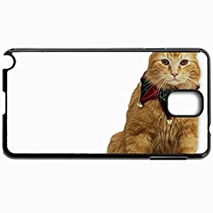 Customized Cellphone Case Back Cover For Samsung Galaxy Note 3, Protective Hardshell Case Personalized Cat Fluffy Sit Decoration Black