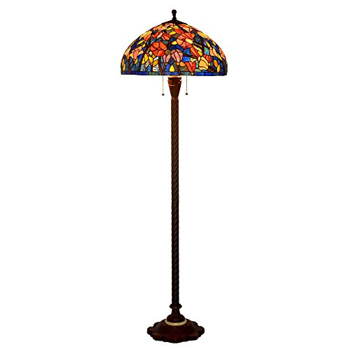 Bieye L10438 20-inches Magnolia Tiffany Style Stained Glass Floor Lamp with Metal Base Embedded Amber Marble, 65-inches Tall Tiffany Magnolia