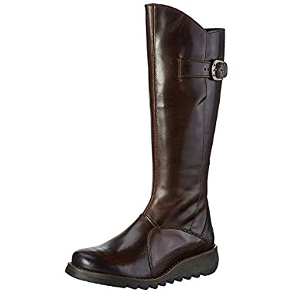 Fly london Mol 2 Dark Brown Leather Womens Knee Hi Boots 1