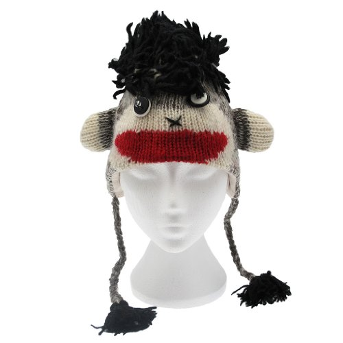 Paper High Men's Fun Crazy Monkey Handmade Woollen Animal Hat With Fleece (Crazy Fleece Hats)