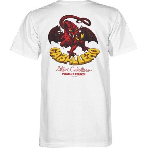 Powell-Peralta Cab Classic Dragon White T-Shirt, XX-Large (Powell Dragon Cab)