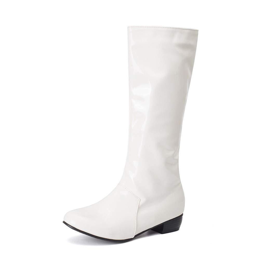 Bottines zippées épaisses en Cuir Verni à la Mode pour Femmes, Chaussures à Bout Rond