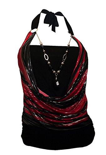 (eVogues Plus size Glitter print Necklace accented O-ring Top Red -)