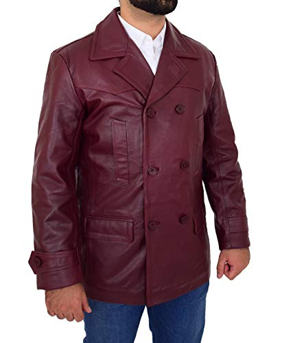 HOL Mens Real Leather Double Breasted Reefer Peacoat Jacket Salcombe Burgundy (Small)