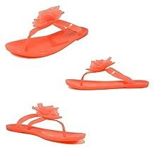 Voda Women's Flat Jelly Sandals Beach Flower Flip Flop Thong