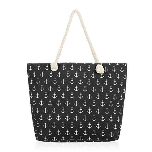 Versatile Eco Fabric Shopper Beach Tote - Reusable School Shoulder Bag Pineapple, Flower, Skull, Llama Cute Animal Print (Anchor - Black)