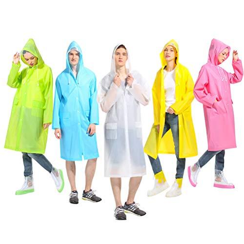 HUPLUE Womens Transparent Hooded Raincoat Waterproof EVA Fashion Rainwear