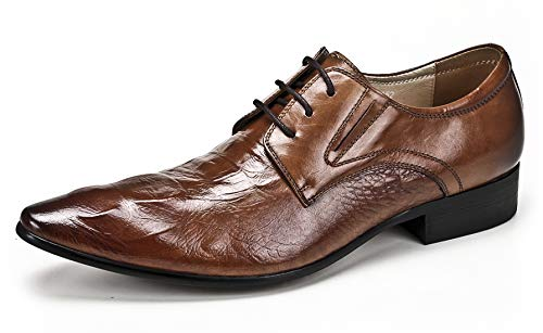 Mens Dress Shoes Leather Oxford for Men Novelty Lace Up Fashion Pointed-Toe Formal Derby Shoes Tan 9.5 M US ()