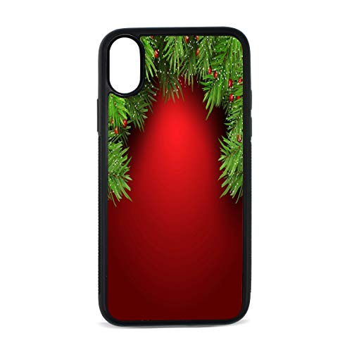 Christmas Background with Fir Tree Branches and Berries Pattern Soft Flexible TPU Rubber Silicone Back Protective Cover Slim Fit Case for iPhoneX