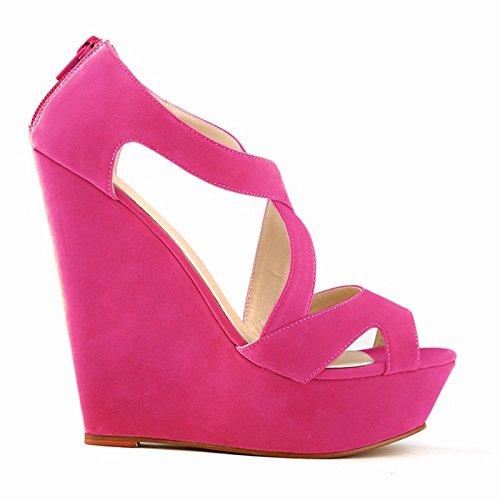Sandalias de tacon alto - TOOGOO(R)zapatos ocasionales de tacon alto de mujer de boda con plataforma zapatos de botines rojo rosa 37