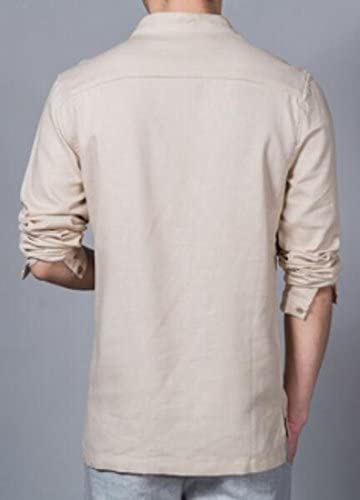 Fubotevic Mens Short Sleeve Linen Stand Collar Frog Button Solid Slim Shirt