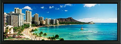 Easy Art Prints Panoramic Images's 'Hotels on The Beach, Waikiki Beach, Oahu, Honolulu, Hawaii, USA' Premium Framed Canvas Art - 36