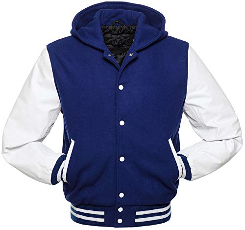 Mens Hooded Wool - Men's Varsity Jacket Genuine Leather Sleeve and Wool Blend Letterman Boys College Varsity Jackets (Blue (Hooded), Medium)