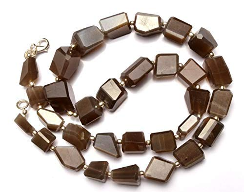 1 Strand Natural Chocolate Brown Color Moonstone Faceted Nuggets 18.5