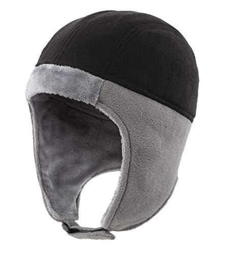 Home Prefer Boys Winter Hat Toddler Boys Earflap Hat Warm Fleece Trapper Hat Aviator Hat Black
