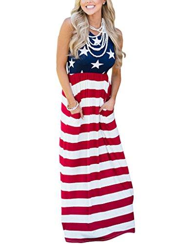HOTAPEI Women American Flag Striped Empire Waist Sleeveless Tank Maxi Dresses Small - Womens Flag Dress