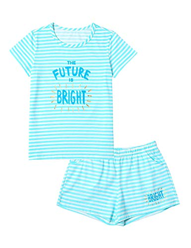 Summer Pajamas for Girls - Blue Stripe & Glittering Text PJS Pal Cute Jammies Set Big Kids Size 14