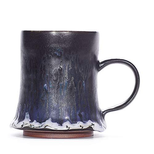 Ancient Handmade Unique Coffee Mug Stoneware Mug Mixed Glazing Mug (Black Forest)