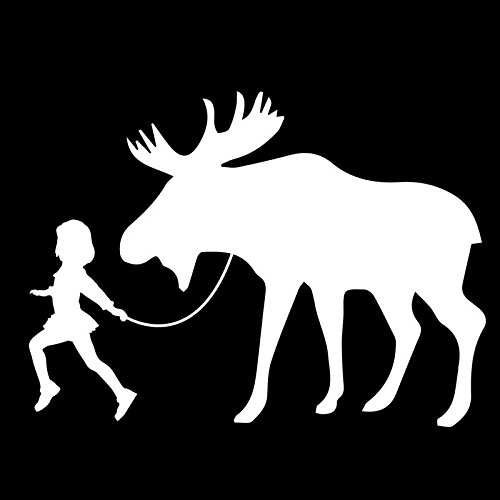 Girl Leading A Moose Vinyl Decal Sticker | Cars Trucks Vans SUVs Laptops Walls Windows Cups | White | 7 X 5.1 | KCD2141