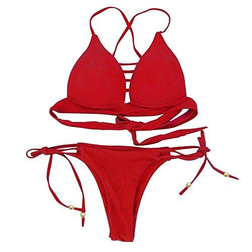 Cliont Mujer Bandage Hacer subir Colgante Bikini Cuello Dos Pieces Floral Traje de baño Rojo