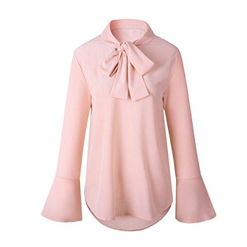 Dames Mousseline en Femme De Chemise Basique Chemise Soie V Pink pour avec Col W1ZnZOwPx
