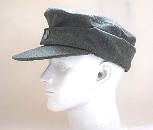 M43 Field Cap (WWII German WH Elite EM M43 Panzer Wool Field Cap Hat Green)