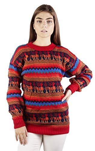 Raymis Peruvian Women´s Red Hand Knit Alpaca Llama Sweater Cardigan (Large)
