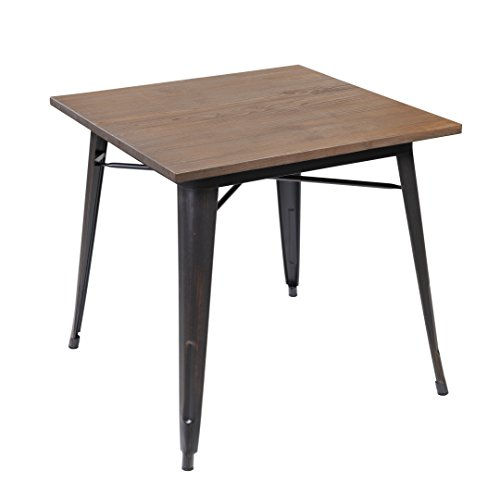 Antique Distressed Black Wood (Modern Industrial Distressed Metal Dining Table with Wood Top, Antique Black Brushing)