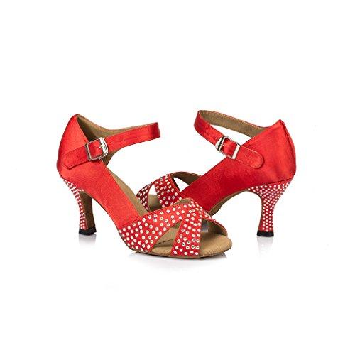 Miyoopark Womens Flared Heel Satin Runway Sandals Samba Cha Cha Dance Shoes Red 7quRXuDu